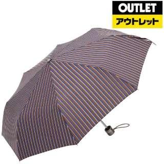 【アウトレット品】 手動折り畳み傘【48cm/三つ折】 8402W82 ブラウンボーダー 【数量限定品】