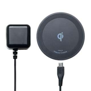 ワイヤレス充電アダプタセット Qi対応 5W出力タイプ IWUA-01/BK ブラック [ワイヤレスのみ]