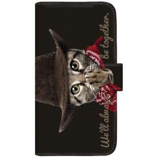 NYAGO SO-01H 厚手手帳型ケース カウボーイ ソラちゃん 肉球をペロペロするにゃー。 かわいい猫フェイス手帳 SO-01H-BNG2S7075-88 ブラック