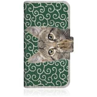 NYAGO iPhone6s スリム手帳型ケース NYAGO ノート キュート 肉球をペロペロするにゃ~。 - にゃんとも 和風 だにゃ~。 iPhone6s-BNG2S2449-78 唐草模様 緑