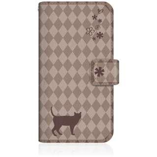 NYAGO iPhone6s スリム手帳型ケース NYAGO ノート フレンチ フラワー ダイアリー キャット シルエット ダイヤ柄 & なんだにゃ? iPhone6s-BNG2S2455-78 チョコレート
