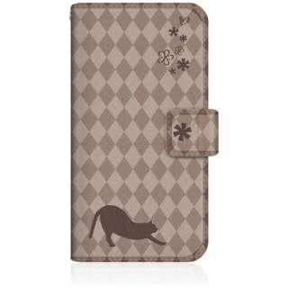 NYAGO iPhone6s スリム手帳型ケース NYAGO ノート フレンチ フラワー ダイアリー キャット シルエット ダイヤ柄 & のびのび?! iPhone6s-BNG2S2457-78 チョコレート