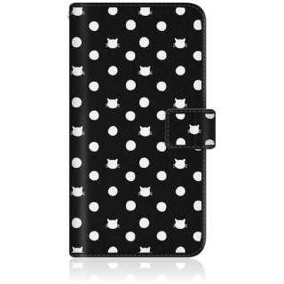 NYAGO iPhone6p スリム手帳型ケース NYAGO ノート キュート ドット パターン iPhone6p-BNG2S2019-78 ブラック
