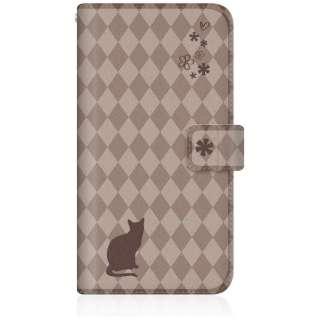 NYAGO iPhone6p スリム手帳型ケース NYAGO ノート フレンチ フラワー ダイアリー キャット シルエット ダイヤ柄 & おすましだにゃん。 iPhone6p-BNG2S2459-78 チョコレート