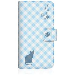 NYAGO iPhone6s スリム手帳型ケース NYAGO ノート サマー フラワー ダイアリー キャット シルエット - ブルー チェッククロス柄 & おすましだにゃ iPhone6s-BNG2S2673-78