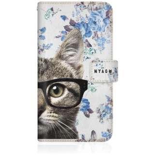NYAGO iPhone6p スリム手帳型ケース NYAGO ノート キュート メガネ フェイス キャット  - サマー フラワー だにゃ~。 - iPhone6p-BNG2S2726-78 ブルー