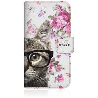 NYAGO iPhone6s スリム手帳型ケース NYAGO ノート キュート メガネ フェイス キャット  - サマー フラワー だにゃ~。 - iPhone6s-BNG2S2725-78 ピンク