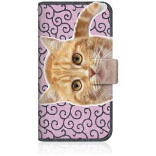 NYAGO iPhone6s スリム手帳型ケース NYAGO ノート キュート 甘えんぼう 茶トラ 猫 ペロペロするにゃ~。 にゃんとも 和風 だにゃ~。 iPhone6s-BNG2S2760-78 唐草模様 ピンク