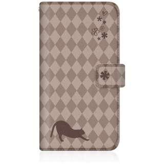 NYAGO iPhone7p スリム手帳型ケース NYAGO ノート フレンチ フラワー ダイアリー キャット シルエット ダイヤ柄 & のびのび?! iPhone7p-BNG2S2457-78 チョコレート