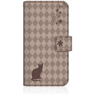 NYAGO iPhone8 スリム手帳型ケース NYAGO ノート フレンチ フラワー ダイアリー キャット シルエット ダイヤ柄 & おすましだにゃん。 iPhone8-BNG2S2459-78 チョコレート