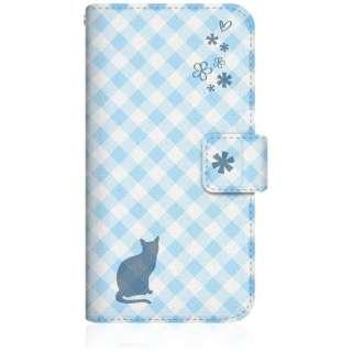 NYAGO iPhone8 スリム手帳型ケース NYAGO ノート サマー フラワー ダイアリー キャット シルエット - ブルー チェッククロス柄 & おすましだにゃ iPhone8-BNG2S2673-78