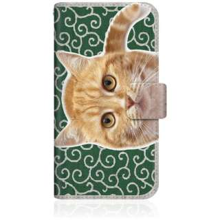 NYAGO iPhone8 スリム手帳型ケース NYAGO ノート キュート 甘えんぼう 茶トラ 猫 ペロペロするにゃ~。 にゃんとも 和風 だにゃ~。 iPhone8-BNG2S2759-78 唐草模様 緑