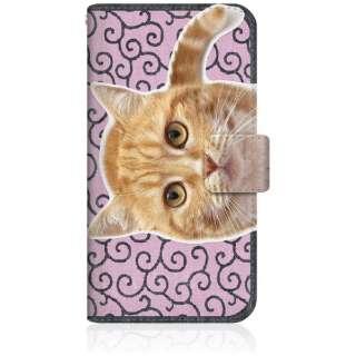 NYAGO iPhone8 スリム手帳型ケース NYAGO ノート キュート 甘えんぼう 茶トラ 猫 ペロペロするにゃ~。 にゃんとも 和風 だにゃ~。 iPhone8-BNG2S2760-78 唐草模様 ピンク