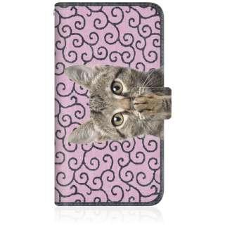 NYAGO iPhone8p スリム手帳型ケース NYAGO ノート キュート 肉球をペロペロするにゃ~。 - にゃんとも 和風 だにゃ~。 iPhone8p-BNG2S2450-78 唐草模様 ピンク