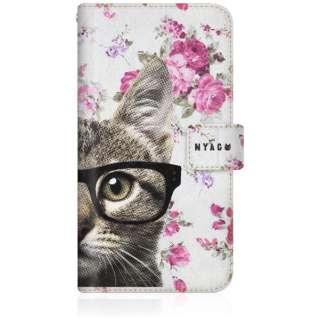 NYAGO iPhone8p スリム手帳型ケース NYAGO ノート キュート メガネ フェイス キャット  - サマー フラワー だにゃ~。 - iPhone8p-BNG2S2725-78 ピンク