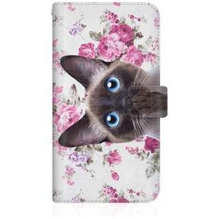 NYAGO iPhone8p スリム手帳型ケース NYAGO ノート キュート 肉球をペロペロするにゃ~。 - シャムちゃん サマー フラワー だにゃ~。 iPhone8p-BNG2S2727-78 ピンク