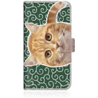 NYAGO iPhone8p スリム手帳型ケース NYAGO ノート キュート 甘えんぼう 茶トラ 猫 ペロペロするにゃ~。 にゃんとも 和風 だにゃ~。 iPhone8p-BNG2S2759-78 唐草模様 緑