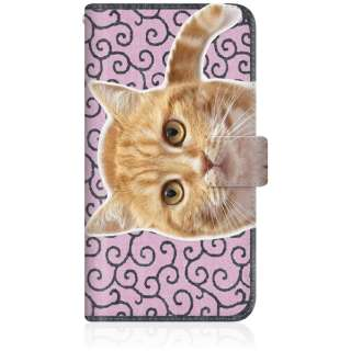 NYAGO iPhone8p スリム手帳型ケース NYAGO ノート キュート 甘えんぼう 茶トラ 猫 ペロペロするにゃ~。 にゃんとも 和風 だにゃ~。 iPhone8p-BNG2S2760-78 唐草模様 ピンク