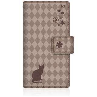 NYAGO iPod-touch6 スリム手帳型ケース NYAGO ノート フレンチ フラワー ダイアリー キャット シルエット ダイヤ柄 & おすましだにゃん。 iPod-touch6-BNG2S2459-78 チョコレート