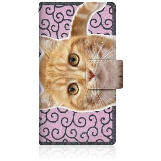NYAGO iPod-touch6 スリム手帳型ケース NYAGO ノート キュート 甘えんぼう 茶トラ 猫 ペロペロするにゃ~。 にゃんとも 和風 だにゃ~。 iPod-touch6-BNG2S2760-78 唐草模様 ピンク