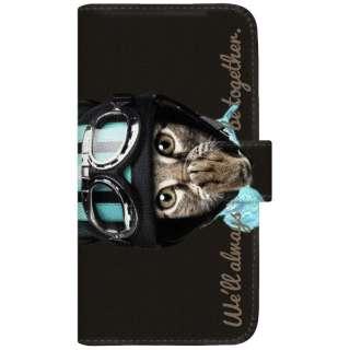 NYAGO iPod-touch6 厚手手帳型ケース ライダー ソラちゃん 肉球をペロペロするにゃー。 かわいい猫フェイス手帳 iPod-touch6-BNG2S7073-88 ブラック