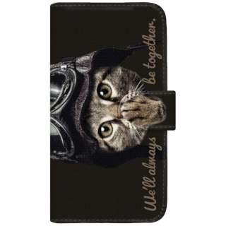 NYAGO iPod-touch6 厚手手帳型ケース パイロット ソラちゃん 肉球をペロペロするにゃー。 かわいい猫フェイス手帳 iPod-touch6-BNG2S7076-88 ブラック