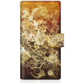 CaseMarket iPhoneX スリム手帳型ケース 屏風 和柄 昇り黒龍 菊花紋章 風雲 iPhoneX-BCM2S2129-78