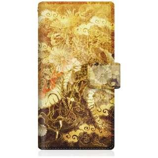 CaseMarket iPhoneX スリム手帳型ケース 屏風 和柄 昇り金龍 菊花紋章 風雲 iPhoneX-BCM2S2130-78