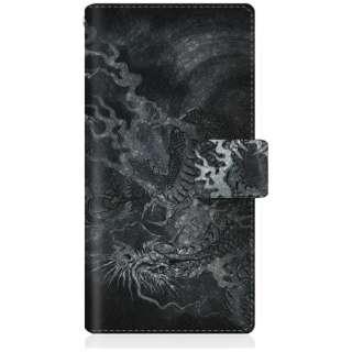 CaseMarket iPhoneX スリム手帳型ケース 龍の咆哮 - 黒 ダイアリー iPhoneX-BCM2S2160-78