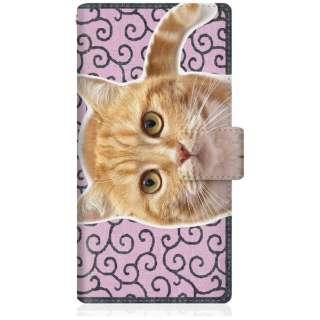 NYAGO iPhoneX スリム手帳型ケース NYAGO ノート キュート 甘えんぼう 茶トラ 猫 ペロペロするにゃ~。 にゃんとも 和風 だにゃ~。 iPhoneX-BNG2S2760-78 唐草模様 ピンク