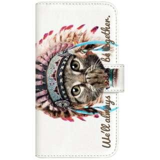 NYAGO iPhoneX 厚手手帳型ケース インディアン ソラちゃん 肉球をペロペロするにゃー。 かわいい猫フェイス手帳 iPhoneX-BNG2S7065-88 ホワイト