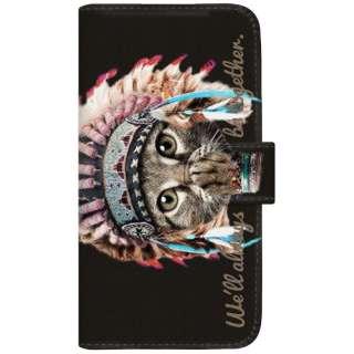 NYAGO iPhoneX 厚手手帳型ケース インディアン ソラちゃん 肉球をペロペロするにゃー。 かわいい猫フェイス手帳 iPhoneX-BNG2S7072-88 ブラック
