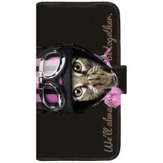 NYAGO iPhoneX 厚手手帳型ケース キュート ライダー ソラちゃん 肉球をペロペロするにゃー。 かわいい猫フェイス手帳 iPhoneX-BNG2S7077-88 ブラック
