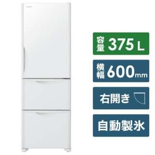 《基本設置料金セット》 R-S38JV 冷蔵庫 真空チルド Sシリーズ クリスタルホワイト [3ドア /右開きタイプ /375L]