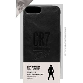 公式ライセンスCR7(クリスティアーノ・ロナウド)ロゴ iPhone 6/6s/7/8用フルグレインレザーケース CR7サイン付 ブラック 0143 ブラック