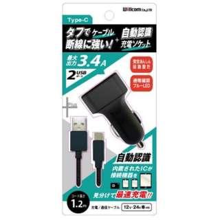 車載用充電器+USB Type-Cケーブル 1.2m ブラック DU34-TC100BK [2ポート]