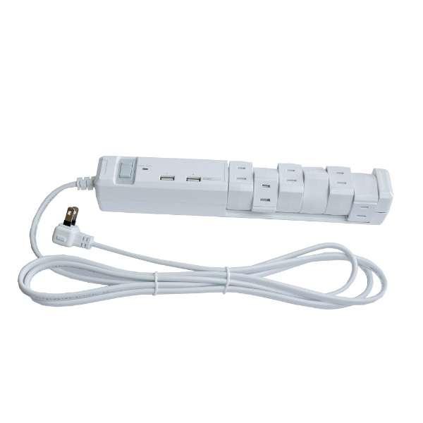 USB充電ポート付電源タップ (2ピン式・6個口・USB2ポート・2m) PTBK2600UWH ホワイト