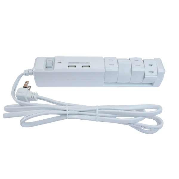 USB充電ポート付電源タップ (2ピン式・4個口・USB2ポート・2m) PTBK2604UWH ホワイト【ビックカメラグループオリジナル】