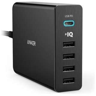 PowerPort+ 5(USB-A / Type-C / ) スマホ用USB充電コンセントアダプタ A2053511 ブラック [USB Power Delivery対応]