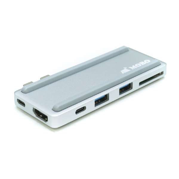 【MacBook Pro用】[USB-Cx2 オス→メス SDカードスロット / HDMI / USB-Ax2 / USB-C / Thunderbolt 3] 3.1変換アダプタ USB PD対応 AM-TC2D01S シルバー