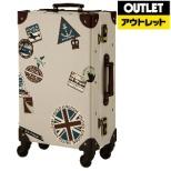 【アウトレット品】 スーツケース スタンプ柄トランクケース 33L ROYAL(ロイヤル) ベージュスタンプ 7015-53-BES 【外装不良品】
