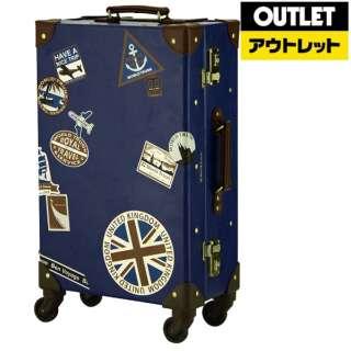 【アウトレット品】 スーツケース スタンプ柄トランクケース 33L ROYAL(ロイヤル) ネイビースタンプ 7015-53-NVS 【外装不良品】