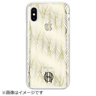 iPhone X用 HoH Printed Case HHIPH-015-LPGC Leaf Print Gold Foil/Clear