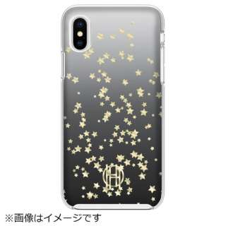 iPhone X用 Printed Case HHIPH-015-SSGB Scattered Stars Gold Foil/Black Ombre