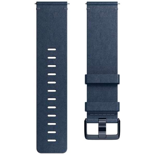 Fitbit フィットビット Versa 専用 純正 交換用 レザー リストバンド Midnight Blue ミッドナイトブルー Lサイズ FB166LBNVL