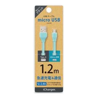 [micro USB] フラットケーブル PG-MUC12M08 1.2m ブルー [1.2m]
