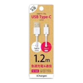 [Type-C]ケーブル 1.2m ホワイト PG-CUC12M02 [1.2m]