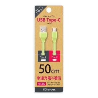 [Type-C]フラットケーブル 50cm グリーン PG-CUC05M10 [0.5m]