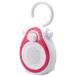 携帯ラジオ ピンク SAD-7714 [防滴ラジオ /AM/FM /ワイドFM対応]