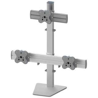 モニターアーム スタンド[3台 ~24インチ] トライアングルスタンド EGFS-8023 シルバー